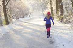 Young woman jogging in winter Stock Images