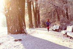 Young woman jogging in winter Royalty Free Stock Photo