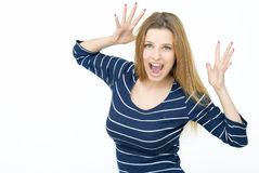 Young woman joking Royalty Free Stock Images