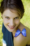 Young woman joyfull playing with butterfly royalty free stock photos