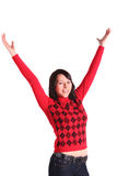 Young woman jubilating Stock Photo