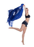 Young woman jump in fitness costume with fabric Stock Photos
