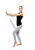 Young woman with the jump rope Royalty Free Stock Photography