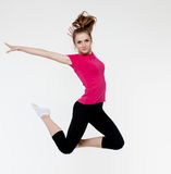 Young woman jump on white Royalty Free Stock Photo