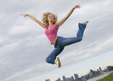 Young Woman Jumper Royalty Free Stock Photography