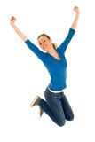 Young woman jumping Royalty Free Stock Photos