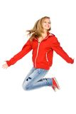Young woman jumping Stock Images