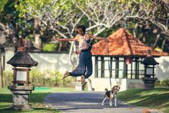 Young woman jumping with her lovely beagle dog in the park of Bali island, Indonesia. Royalty Free Stock Photo