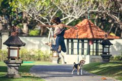 Young woman jumping with her lovely beagle dog in the park of Bali island, Indonesia. stock images