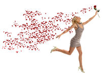 Young Woman Jumping Holding Rose Royalty Free Stock Image