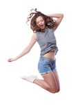 Young woman is jumping Stock Image