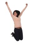 Young woman jumping in joy royalty free stock photos