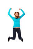 Young woman jumping with joy. Teenage woman jumping with joy Stock Images