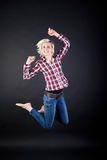 Young Woman Jumping Up High Royalty Free Stock Photo