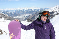 Young woman on the Kaprun, skiing resort in Austria. Stock Image