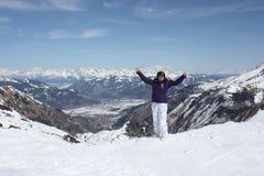 Young woman on the Kaprun, skiing resort in Austria. Stock Photo