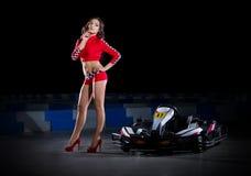 Young woman karting racer Royalty Free Stock Photos