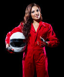 Young woman karting racer Royalty Free Stock Image