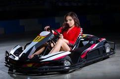 Young woman karting racer Stock Photos
