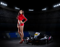 Young woman karting racer Royalty Free Stock Photo