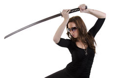 Young woman with katana (2) Stock Photography