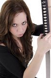 Young woman with katana Royalty Free Stock Images