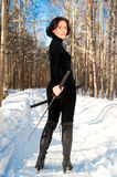Young woman with a katana Stock Photos