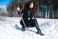 Young woman with a katana Royalty Free Stock Photography