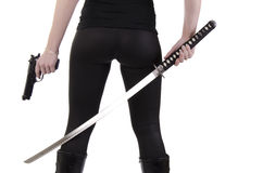 Young woman with katana (3) Royalty Free Stock Image