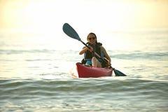 Young woman on kayak in florida Royalty Free Stock Photos
