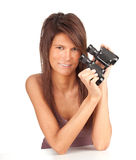 Young woman keeping binoculars Stock Images