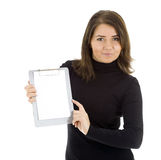 Young woman  keeping  blank clipboard Royalty Free Stock Photo