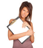 Young woman keeping blank clipboard Stock Images