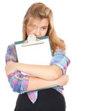 Young woman keeping blank clipboard Stock Image