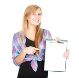 Young woman keeping blank clipboard Royalty Free Stock Photography