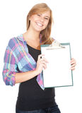 Young woman keeping blank clipboard Stock Photos