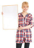 Young woman keeping blank poster Stock Images