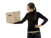 Young woman keeping cardboard box Royalty Free Stock Photo