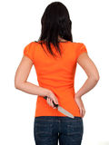 Young woman keeping knife for backs Royalty Free Stock Photo