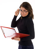 Young woman keeping red clipboard Royalty Free Stock Photography
