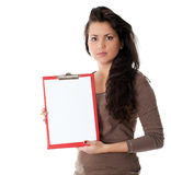 Young woman keeping red clipboard Royalty Free Stock Photos