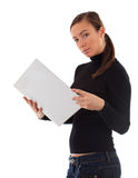 Young woman keeping white clipboard Stock Photos