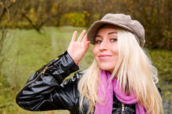 Young woman in kepi Stock Image