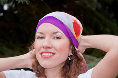 Young woman with a kerchief on her head Stock Photography