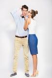 Young woman kissing man Royalty Free Stock Photo