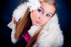Young woman kissing you royalty free stock photos