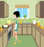 Young woman on kitchen. Vector illustration, color full, no gradient Royalty Free Stock Images