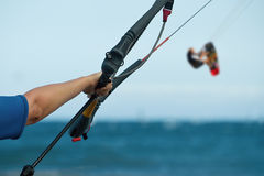 A young woman kitesurfer ready Royalty Free Stock Image