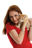 Young woman with a kitten. Royalty Free Stock Photography