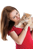Young woman with a kitten. Royalty Free Stock Photo